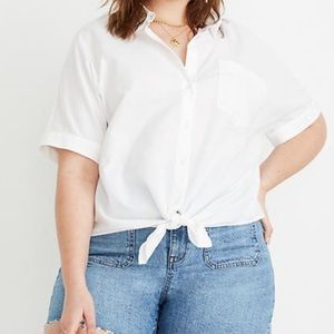 Madewell Texture & Thread Tie Front Blouse